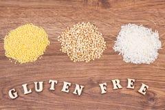 Wpisowy gluten uwalnia z jaglanymi groats, białą gryką i ryż, zdrowy karmowy pojęcie Zdjęcia Royalty Free