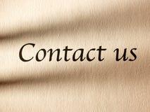 Wpisowy kontakt my na prześcieradle papier zdjęcie royalty free