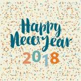 Wpisowy Szczęśliwy nowy rok 2018 z confetti Zdjęcie Stock