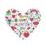 Wpisowy Szczęśliwy walentynka dzień z symbolami i czernią wykłada ustawionego w formie serca ilustracji