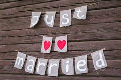 Wpisowy Właśnie poślubiający drewniane ściany obrazy stock