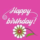 Wpisowy wszystkiego najlepszego z okazji urodzin i piękny kwiat Obrazy Stock