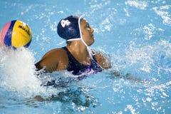 WPO: Campeonato dos Aquatics do mundo - EUA contra de Grécia o final semi imagem de stock