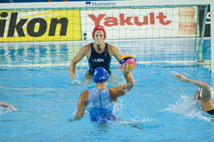 WPO: Wereld Aquatische Kampioenschappen - de V.S. versus Griekenland Royalty-vrije Stock Foto's