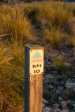 Wpoden hiking signpost stock photo