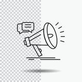 wprowadzać na rynek, megafon, zawiadomienie, promo, promocji Kreskowa ikona na Przejrzystym tle Czarna ikona wektoru ilustracja ilustracji