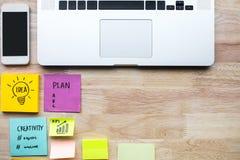 Wprowadzać na rynek, planujący pomysłów pojęcia z laptopem i notepaper zdjęcie royalty free