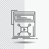 Wprowadzać na rynek, strona, wideo, sieć, strony internetowej Kreskowa ikona na Przejrzystym tle Czarna ikona wektoru ilustracja ilustracji