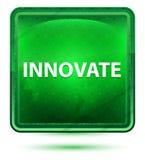 Wprowadza innowacje Neonowego Jasnozielonego Kwadratowego guzika royalty ilustracja