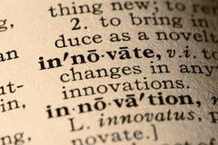 wprowadza innowacje słowo obraz stock