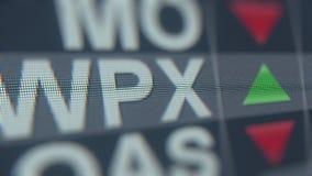 WPX-ticker van de ENERGIEwpx voorraad, conceptuele redactie loopable animatie stock footage