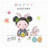 Wręcza patroszoną ilustrację dziewczyna maluje Wielkanocnych jajka troszkę ilustracji