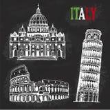 Wręcza patroszonego kolosseum, wierza Pisa, St Peter bazylika, Włochy, chalkboard ilustracja ilustracja wektor