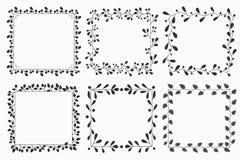 Wręcza rysującego set kwiecisty wektorowy wianek i ramy obraz royalty free