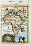 Wręcza barwioną Antykwarską historyczną mapę Afryka 1683 fotografia stock
