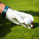 Wręcza chwyt piłkę golfową z trójnikiem na kursie, zamyka up, zdjęcie royalty free