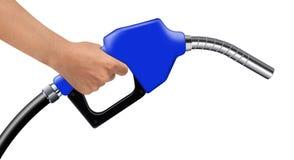 Wręcza chwytowi błękitnego paliwowego nozzle na bielu obrazy royalty free