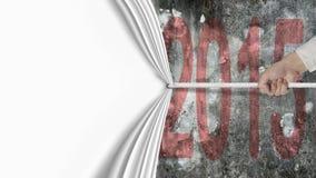 Wręcza ciągnięciu pusta biała zasłona zakrywającego zmrok - czerwieni 2015 ściana Obraz Royalty Free