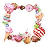 Wręcza malującą deseru kwadrata ramę dla karta projekta i cukierki, urodziny Pączek, macaron, torty, babeczki, cukierki na bielu royalty ilustracja