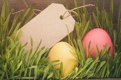 Wręcza malujących Easter jajka w trawie z kartą dla teksta zdjęcia stock