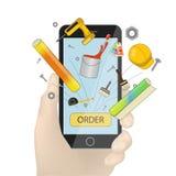 Wręcza mienia smartphone wektor, czarny telefon komórkowy w ręki ilustracji odizolowywającej na białym tle Materiały budowl royalty ilustracja