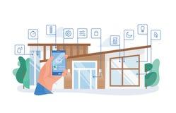 Wręcza mienia smartphone z mobilnym zastosowaniem dla domowej automatyzacji przeciw budynkowi mieszkalnemu na tle mądrze ilustracja wektor