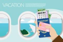 Wręcza mienie paszport, abordaż przepustkę, kieszeniowego pieniądze i kartę kredytową z wyspa widokiem na zewnątrz okno na samolo royalty ilustracja