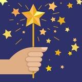 Wręcza mieniu magiczną różdżkę z gwiazdą, wektorowa ilustracja Fotografia Royalty Free