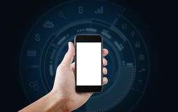 Wręcza mieniu mobilnego mądrze telefon, pustego bielu technologii ikon tło, parawanowego i podaniowego Obraz Royalty Free