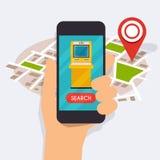 Wręcza mieniu mobilnego mądrze telefon z wiszącej ozdoby app atm rewizją Fotografia Stock