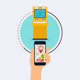 Wręcza mieniu mobilnego mądrze telefon z wiszącej ozdoby app atm rewizją Vect Zdjęcie Stock