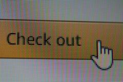 Wręcza mysz kursor na czeku za guziku na Internetowej wyszukiwarce obraz stock