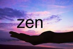 Wręcza oferować słowa zen, zmierzchu tło Obraz Stock