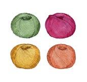 Wręcza patroszoną akwarelę ustawiającą kolorowe piłki przędza Zdjęcie Royalty Free