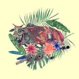 Wręcza patroszoną akwareli ilustrację indyjska krowa, opuszcza, kwiaty, piórka Zdjęcia Stock