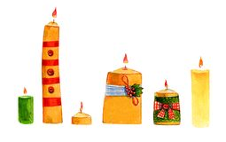 Wręcza patroszoną akwareli ilustrację z dekoracyjnymi świeczkami w rzędzie ilustracja wektor