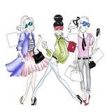 Wręcza patroszoną ilustrację - Ładne mod dziewczyny robi zakupy royalty ilustracja