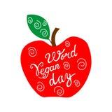 Wręcza patroszoną ilustrację czerwony jabłko na białym tle Zdjęcie Stock