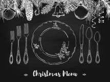 Wręcza patroszoną ilustrację kędzierzawy ornamentacyjny srebny tableware, matrycuje czarnego chalkboard tło, Wektor rama z ręka r Obrazy Royalty Free