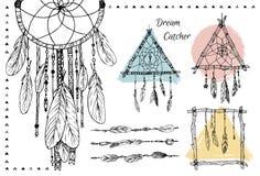 Wręcza patroszoną ilustrację - set Wymarzeni łapacze plemienny projektu Fotografia Royalty Free