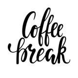 Wręcza patroszoną kaligrafię i szczotkuje pióra literowania zwrot kawowa przerwa Projekt reklamowe broszurki i zaproszenia kawiar ilustracji