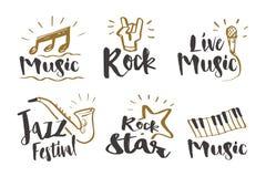 Wręcza patroszoną kaligrafii muzykę, skała, festiwal jazzowy, gwiazda rocka, Obraz Stock
