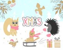 Wręcza patroszoną kartkę bożonarodzeniowa z śliczną wiewiórką, ptak, jeż, prezenty, kot jedzie sanie i inne rzeczy ilustracji