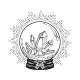 Wręcza patroszoną magiczną kryształową kulę z klejnot kreskową sztuką i kropkuje pracę Boho modny tatuaż, plakat lub ołtarzowy pr royalty ilustracja