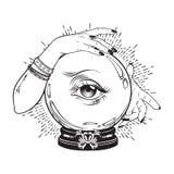 Wręcza patroszoną magiczną kryształową kulę z okiem skrzętność w rękach pomyślność narrator Boho kreskowej sztuki modny tatuaż, p ilustracji