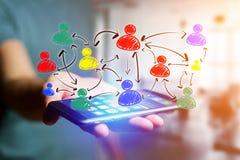Wręcza patroszoną ogólnospołeczną sieci ikonę iść out smartphone interfejs Zdjęcie Stock