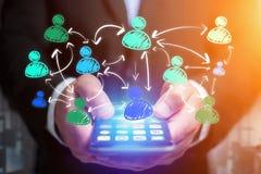 Wręcza patroszoną ogólnospołeczną sieci ikonę iść out smartphone interfejs Obrazy Stock