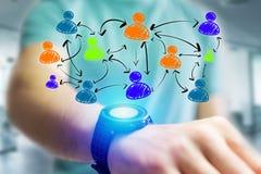 Wręcza patroszoną ogólnospołeczną sieci ikonę iść out smartwatch interfejs Obraz Royalty Free