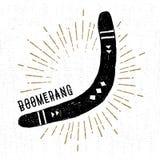 Wręcza patroszoną plemienną ikonę z textured bumerangu wektoru ilustracją Zdjęcie Royalty Free