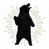 Wręcza patroszoną plemienną ikonę z textured grizzly niedźwiedzia wektoru ilustracją royalty ilustracja